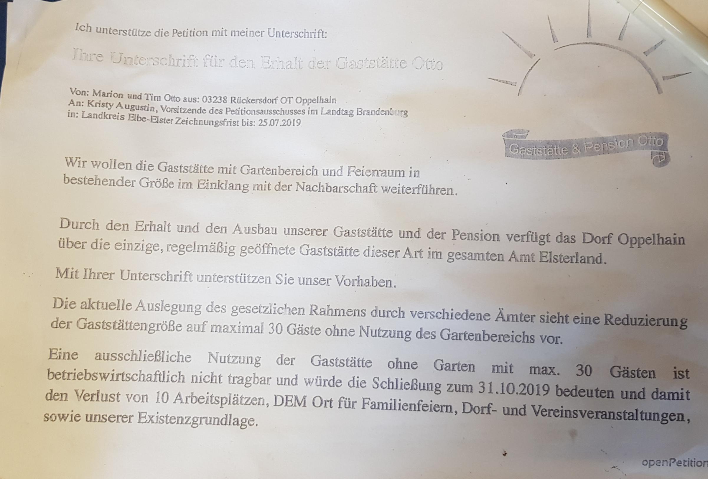 Petition Gaststätte Otto Oppelhain / Rückersdorf