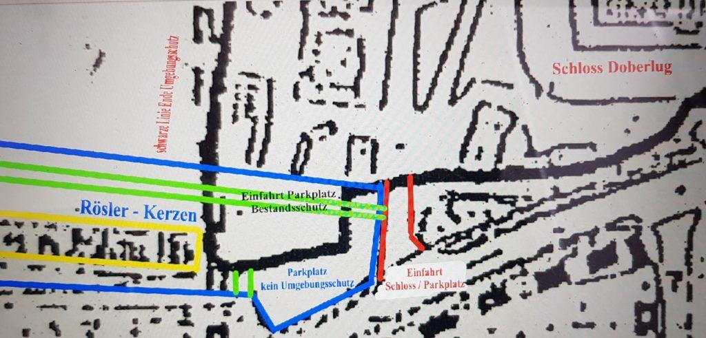 Die schwarze Linie bedeutet Ende des Umgebungsschutzes vom Denkmalbereicges!